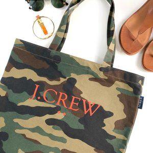 J. Crew Tote Orange Logo Cotton Canvas Camo Green